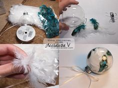 Christmas DIY Idea: tree ornaments with feathers