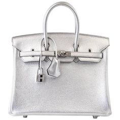 Guaranteed authentic HERMES BIRKIN 25 Chevre uber rare, crazy fabulous, Metallic Silver.Perfection with palladium hardware.Black...