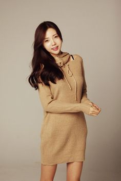 Hood Button Tie Knit Dress