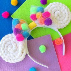Items similar to Celebration Mickey Mouse Ears Headband Mickey Mouse Ears Headband, Cat Ears Headband, Mickey Ears, Minnie Mouse, Disney Headbands, Ear Headbands, Disney Diy Crafts, Diy Disney Ears, How To Make A Pom Pom