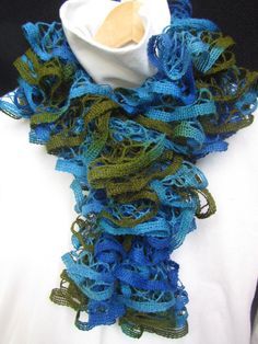 Wavy Scarf in Blue and Green Colors - Woman - Winter Accessories Winter Fashion Chunky Knit Spring Fashion