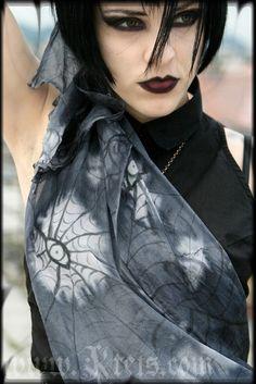 Purple macabre silk scarf - gothic eyes - halloween fashion on Etsy, $73.00