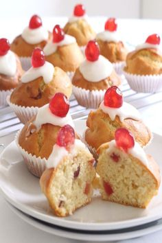 Classic little cherry bakwell muffins based on the original and classic cherry bakewell tart. If you love that, you'll love these! And they wont add so much to your waistline at only 200 calories each! they won