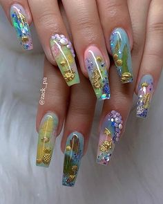 20 Nautical Nail Art Ideas - Page 2 of 23 - Nail Art & Nail Designs Ideas Gorgeous Nails, Beautiful Nail Art, Pretty Nails, Nail Art Designs, Acrylic Nail Designs, Nails Design, Ongles Bling Bling, Bling Nails, Summer Acrylic Nails