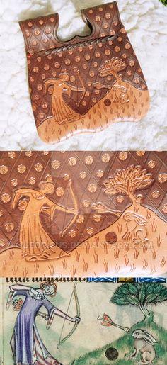 Late XIV century girdle purse by Leoricus.deviantart.com on @DeviantArt