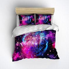 Fleece Galaxy Bedding  Cosmos Duvet Cover & Pillow by InkandRags