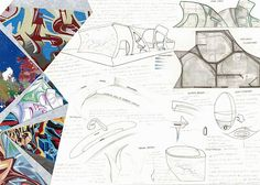 This outstanding sketchbook page from Nikau Hindin's A Level Design and Technology project shows a public toilet design based on photographs of graffiti. Competent freehand sketches fill the page, with a mix of 3D and planar drawings depicting possible details of the interior spaces and architectural form.