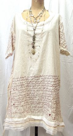red thread dress by ruthrae Thread traced text on a dress! Free form sewing or hand stitched? Textiles, Altered Couture, Refashion, Dressmaking, Wearable Art, Boho Fashion, Cool Outfits, Creations, Lingerie