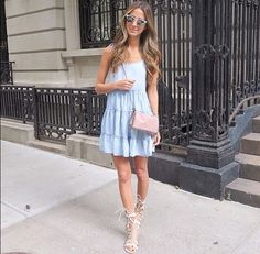 Cute casual baby blue dress with gladiator sandals