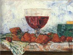 James Ensor - Verre de vin rouge, fraises et cerises; Creation Date: 1892; Medium: oil on panel
