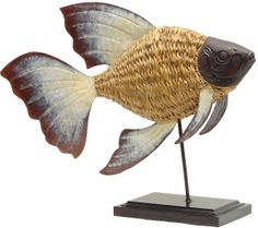 Fish Woven Gold on Stand