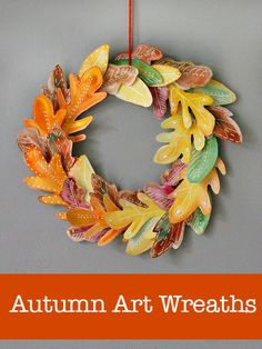 10 beautiful and easy homemade fall wreath crafts for kids :: diy autumn wreath :: leaf crafts for kids