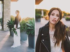I love the thought of the bride wearing a leather jacket in some of the photos with the wedding gown for an edgier look.