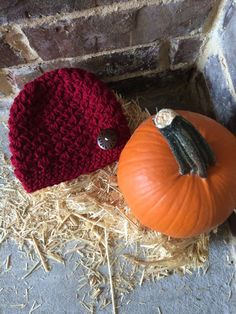Hand Crocheted Baby Fall Hat  Size 06 Months in Maroon by KKandCo