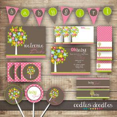 Hey, I found this really awesome Etsy listing at http://www.etsy.com/listing/125688420/woodland-baby-girl-shower-pink-and-brown