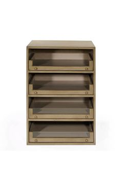 Shown in Cherry wood with an Antique Grey finish, the Graham shoe cabinet features four long drawers with glass fronts.