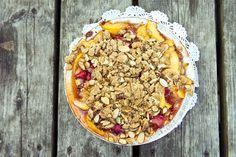 A peach and strawberry crisp at the Scottish Bakehouse in Vineyard Haven. One of the best pies around