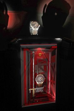Dietlin Swiss Showcases : Hublot Raptor display case without glass for Ferrari which can retract within a tenth of a second. Wind Tunnel, Art And Technology, Car In The World, Display Case, Car Ins, Ferrari, Watch, Glass, Beautiful