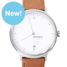Helvetica Light 38mm (brushed silver/brown) watch by Mondaine. Available at Dezeen Watch Store: www.dezeenwatchstore.com