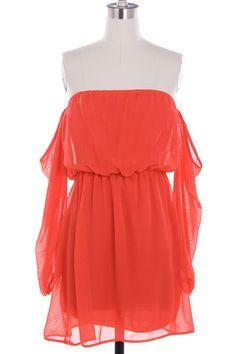 Nora Off Shoulder Dress Coral   Freckles Boutique