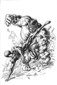Spiderman v Hulk Mike Deodato Jr Comic Art Hulk Marvel, Marvel Art, Marvel Dc Comics, Marvel Heroes, Anime Comics, Comic Book Characters, Marvel Characters, Comic Books Art, Hulk Artwork