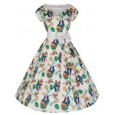 'Kelly' Vintage 50's Style Paradise Inspired Print Swing Dress