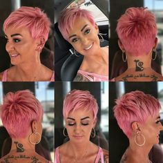 My girl never lets me down when it comes to trying new things. We cut her longer pixie shorter and created a fab pink using Blush, Clear, Mercury, Lemon and a little bit of conditioner to the mix. Funky Short Hair, Super Short Hair, Short Hair Cuts For Women, Short Hairstyles For Women, Short Hair Styles, Short Haircuts, Pixie Haircut Styles, Pixie Hairstyles, Cool Hairstyles