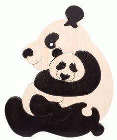 Panda wooden puzzle from Honeybee Toys Scroll Pattern, Scroll Saw Patterns, Panda, Eco Friendly Toys, Wooden Hand, Wooden Puzzles, Wooden Crafts, Wood Toys, Diy For Teens