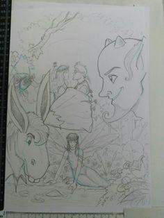 """Ilustración a lápiz de """"Sueño de una noche de verano""""/""""A Midsummer Night's Dream"""" por Miguel Redondo."""