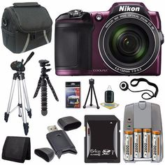 Nikon COOLPIX L840 Digital Camera (Purple) + 4 AA Pack NiMH Rechargeable Batteries and Charger + 64GB SDXC Class 10 Memory Card + Carrying Case + Full Size Tripod + 12-Inch Flexible Tripod with Gripping Rubber Legs + SD Card USB Reader + Memory Card Wallet + Deluxe Starter Kit + Lens Cap Keeper Brand Specials Package  http://www.lookatcamera.com/nikon-coolpix-l840-digital-camera-purple-4-aa-pack-nimh-rechargeable-batteries-and-charger-64gb-sdxc-class-10-memory-card-carrying-case-full..