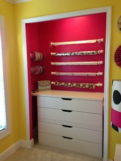 Ideas, Home Improvement, Cleaning & Organization Tips DIY Gift Wrapping Station in a closetDIY Gift Wrapping Station in a closet Apartment Closet Organization, Craft Organization, Craft Storage, Household Organization, Organizing Tips, Organising, Apartment Ideas, Storage Ideas, Wrapping Paper Station