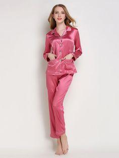 Romwe Contrast Binding Satin Shirt   Pants Pj SetL Satin Pjs 70be85778