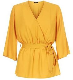 Womens marigold yellow belted wrap front bell sleeve top from New Look - £17.99 at ClothingByColour.com