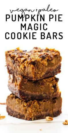 Pumpkin Pie Magic Cookie Bars (vegan + paleo) - - Your favorite fall pie meets gooey cookie goodness in these Pumpkin Pie Magic Cookie Bars with pecan crust, spiced filling, and lots of chocolate chips! Paleo Pumpkin Pie, Pumpkin Pie Bars, Pumpkin Pie Recipes, Pumpkin Dessert, Vegan Pumpkin Bars Recipe, Vegan Pumpkin Cookies, Pumpkin Brownies, Pumpkin Pies, Healthy Pumpkin Recipes