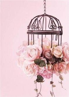 bird cage with pink roses. Romantic Shabby Chic, Shabby Chic Decor, Nature Iphone Wallpaper, Rose Wallpaper, Wallpaper Ideas, Pink Lady, Bird Cages, Everything Pink, Pink Roses