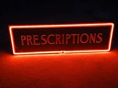 "Neon Drugstore ""Prescriptions"" Sign Westinghouse ca. 1940's found on Ruby Lane"