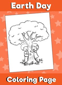 Earth-day-coloring-page-kids-hugging-tree