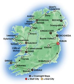 2015 JEWELS OF IRELAND 14 Day Tour, Superior First Class Hotels - 13 Nts/25 Meals. Overnights: 2 Dublin, 1 Kinsale, 2 Dingle, 1 Ennis, 2 Galway, 2 Donegal, 1 Belfast, 1 Kingscourt, 1 Drogheda
