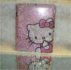Pink Crystal Cute Cat iPad 4 case iPad 3 case iPad 2 case Bling pink iPad Mini case iPad case Handmade new iPad Cover. $74.99, via Etsy.
