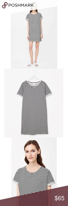 COS Rolled-Sleeve Striped Dress EUC Designed for everyday wear, this dress is made from striped cotton jersey with a soft loopback underside and casual roll-up sleeves. A relaxed fit, it has raglan shoulder seams, split side pockets and a wide round neckline.  Back length of size Small is 84cm / 100% Cotton / No. 925151-76 COS Dresses Mini