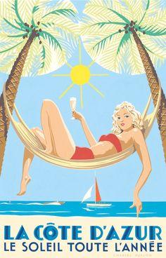 PEL309: 'La Côte d'Azur - Le Soleil toute l'Année' by Charles Avalon - Vintage posters - Art deco - Pullman Editions