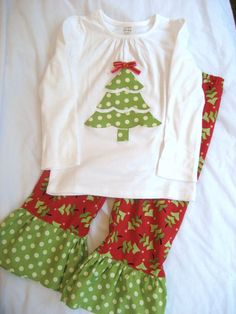 "Maybe With A Long  T Shirt For The ""older"" Gals And Boys Underwear As Shorts With Christmas Ruffle....want To Sew It"