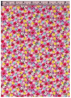 HALF YARD Kobayashi - Pandas Strawberries and Flowers - PINK Colorway - Sweets Forest - Poplin - Project By Cotton by fabricsupply on Etsy