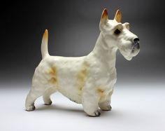 Porcelain Schnauzer Salt and Pepper Crop-Eared Ceramic Dog Figurine NEW Japan