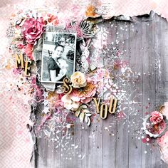 Scraps Of Elegance Scrapbook Kits:  Shabby Chic mixed media layout created by Lisa Griffith, using.