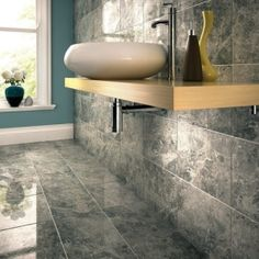 Grey Marble Bathroom d & l- mosaic for the shower floor. gray honed marble bathroom