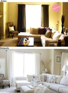 √ 25 Before and After: Budget Friendly Living Room Makeover Ideas - Home and Gardens Dark Living Rooms, Home Living Room, Living Room Designs, Living Spaces, Home Theaters, Living Room Remodel, Home Remodeling, Room Inspiration, Family Room