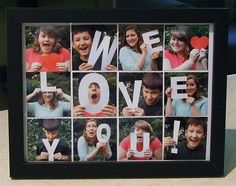 Creative photo gift ideas using cardstock letters and framed photos.