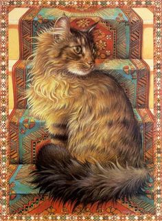 I have this picture on a really lovely music box....looks like a sweet kitty I had about 20 years ago, female names Fluffy. Not very original, but she came running when you called her that!