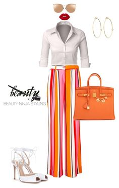 """""""Styled by @beauty_ninja_styling"""" by beautyninjastyling ❤ liked on Polyvore featuring Gianvito Rossi, LE3NO, P.A.R.O.S.H., Hermès, Linda Farrow, Lime Crime and Jennifer Meyer Jewelry"""